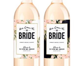 custom bridal shower wine labels personalized bachelorette party decoration bottle label here comes the bride future mrs