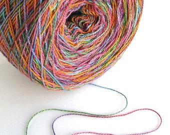 Hand Dyed Yarn Cotton Rayon Yarn Lace Weight Yarn 870 yards Colorful Orange Rainbow Variegated Shiny Soft - Glimmer