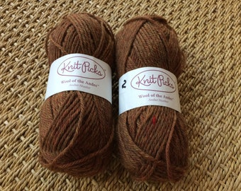 KnitPicks Wool of the Andes, Amber Heather, Worsted Weight, 2 Skeins, 220 yds. Total,