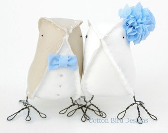 Wedding Cake Toppers Cutest Love Birds Blue Sea Beach Weddings by Cotton Bird Designs