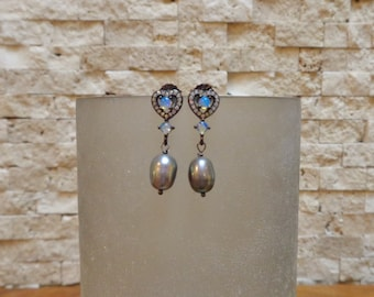 Pretty Opal, Oxidized Sterling Silver and freshwater Pearl earring with pave cz