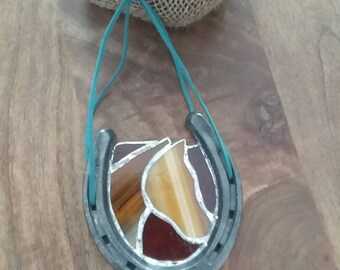 Repurposed stained glass horseshoe - horse - country - ranch - farm - western - rodeo - upcycled - recycled - suncatcher