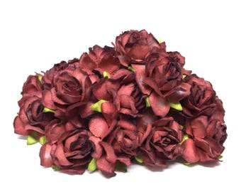 Two Tone Burgundy Classic Mulberry Paper Roses Cr011