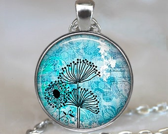 Dandelion Thistles pendant, flower necklace, flower pendant, flower art pendant, flower art necklace keychain key chain key ring key fob