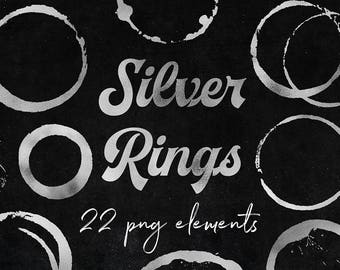 Silver Rings Clipart, Glamour Silver Stains, Shiny Silver Circles, Silver Strokes, Perfect For Scrapbooking, Cards, Graphic Design, BUY3FOR6