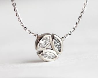 Gold Diamond Necklace, Marquise Diamond Necklace, Round Diamond Necklace, Circle Diamond Necklace, Diamond Circle Necklace, Diamond Chain