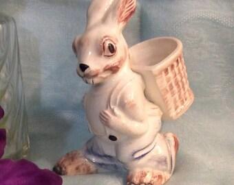 Holland Mold Ceramic Rabbit Figurine with Basket on his Back, Vintage Easter Rabbit