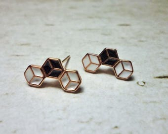 Triple Cube Stud Earrings, Dainty Earrings