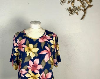 80s/90s Tropical Floral Print Blouse