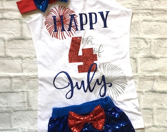 Baby Girl Clothes, Fourth of July, Happy Fourth Of July Tank Top, Happy Fourth Of July Shirt, Fourth Of July Shirts, July 4th, Fireworks