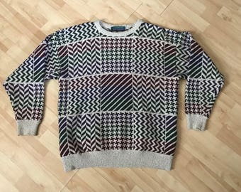 Vintage '90s Claybrooke Outdoors Patterned Geometric Sweater Extra Large