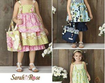 Girls SUN DRESS Sewing Pattern Sundress Top Pants Bag Sarah Rose Simplicity 2171