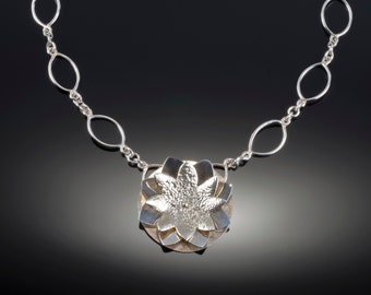 Hand fabricated sterling silver Water Lily Necklace