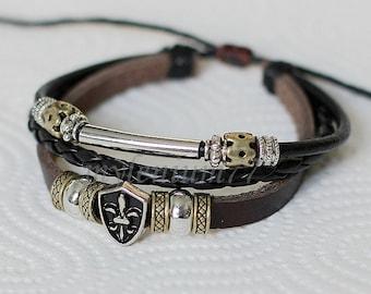 414 Men bracelet Women bracelet Fleur de lis bracelet Beads bracelet Leather bracelet Braided bracelet Woven bracelet Fashion bracelet