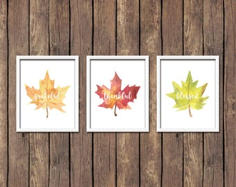 Set of 3 Grateful Thankful Blessed Autumn Leaves Printable Wall Art Thanksgiving Decor Thanksgiving Print Fall Leaf Print Fall Leaves Decor