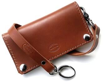 Leather Biker Wallet / Brown Leather Wallet / Classic Biker Wallet in Whiskey Brown / Full Size Wallet / Light Brown Wallet / Chain Wallet