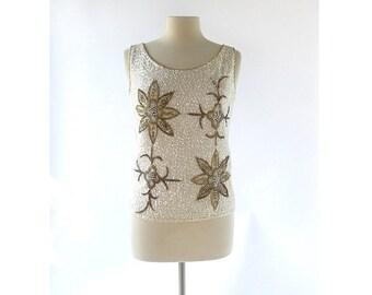 60s Beaded Top | Ancien Fleurs  | Sequin Sweater | Small S