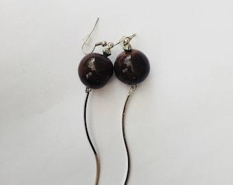 Brown ceramic earrings