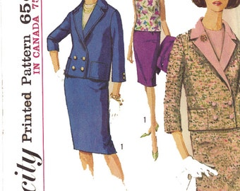 Uncut 1964 Vintage Simplicity Pattern 5666, Size 14T, Teen's Double Breasted Jacket, Skirt and Blouse - No Envelope