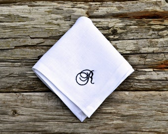Monogrammed White Linen Handkerchief, Personalized Hankerchief, Embroidered  Hankie, Irish Linen Monogram Pocket Square