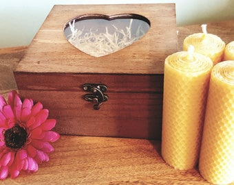 4 x Hand Rolled, 100% Pure, Natural, Beeswax, Candles, presented in a Wooden, Heart, Box, hand stained, perfect Birthday Gift