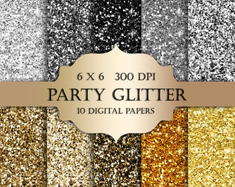 Silver & Gold glitter digital paper - Glitter gold,silver, Scrapbooking Digital Paper, black glitter backgrounds, sparkle for invitations