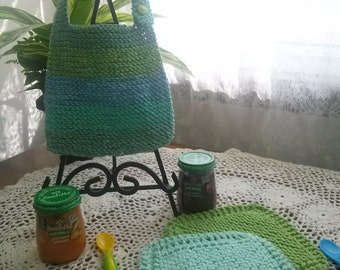 Ocean Breeze Hand Knit Baby Bib and Washcloth Set