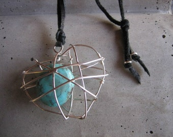 Caged Heart Sterling Silver Turquoise Necklace Pendant Leather