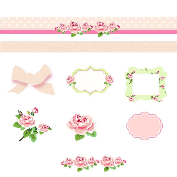 Shabby Chic Digital Scrapbook Paper Pack Pink And Green Papers Vector Frames Roses Clip Art