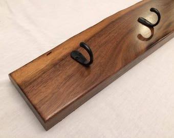 Live Edge Walnut Coat and Scarf Rack, Handmade