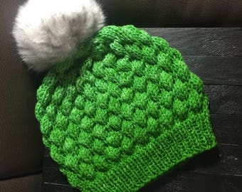 Green wool bubble beanie winter ski hat with faux fur pom pom
