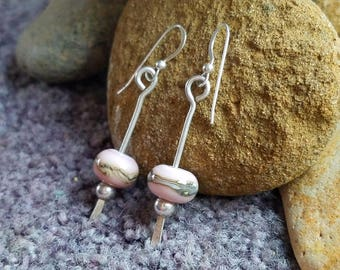 Silver Dangle Hand Forged Pink Lampwork Earrings