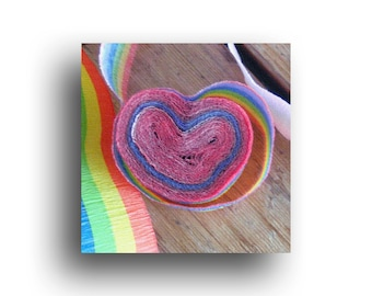 "Rainbow Streamer Heart, Mini Valentine Art Print, 4.5"" wrapped canvas, Birthday, Party"