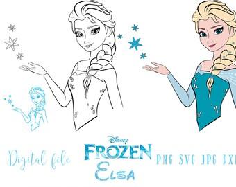 Elsa frozen SVG, file vector, frozen clipart. Instant download. Template.