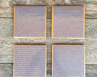 """Rose Gold and Periwinkle Autumn Thanksgiving """"Asher"""" Ceramic Coasters"""