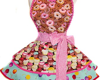 "READY TO SHIP-""Donuts & Cupcakes"" Retro Apron -- A  Tie Me Up Aprons Exclusive!"
