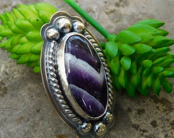 Boho chevron Amethyst ring | size 6 ring  | sterling silver stone ring | Artisan stone statement ring | Purple oval | Large cocktail ring