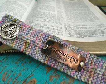 Eucharisteo Handstamped Knit Scripture Bracelet Cuff, Boho Wrap Bracelet, Christian Jewlery