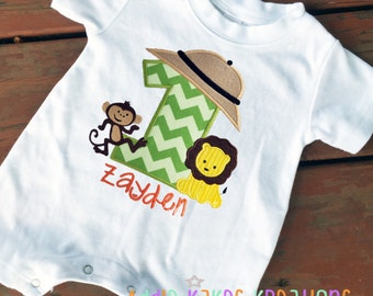 Safari First Birthday - Romper - One Piece Creeper - Monkey - Lion - Jungle Birthday Party - Personalized - Safari Birthday Party