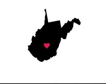 west virginia heart svg dxf jpeg png file stencil monogram frame silhouette cameo cricut clip art commercial use
