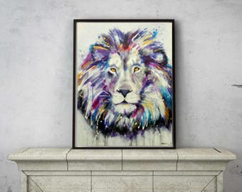 Multicolor lion original artwork hand painted 30 x 40 inches