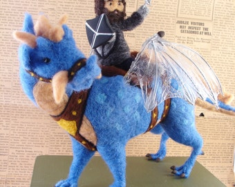 Needle Felted Blue Dragon and Knight- Needle Felted OOAK Soft Sculpture by Bella McBride