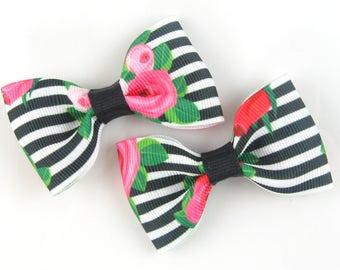 Pigtail bows, cute hair bows, girls hair bows, black and white rose floral clips, girls hair clips, baby hair clips, alligator non slip pair