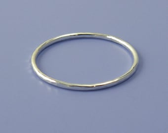 Thin Argentium Silver Multi Hammered Stacking Ring, Multi Faceted ring (18 gauge)