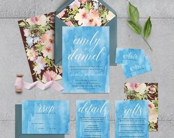 """Printable Wedding Invitation Suite """"Mirisinie"""" - Printable DIY Invite, Affordable Wedding Invitation"""