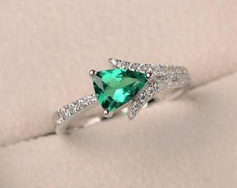 Anniversary ring, emerald ring, trillion cut green gemstone, May birthstone, sterling silver ring