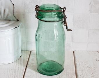 "Authentic ""L'ideale"" French Green Glass Bocal 1L    Antique Glass Preserving Jar - Kitchen Vintage Storage"