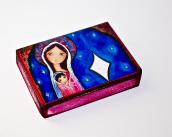 Nativity Star 3  - ACEO Giclee print mounted on Wood (2.5 x 3.5 inches) Folk Art  by FLOR LARIOS