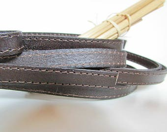 20 cm Strip 1 cm flat vegetable Brown stitched leather - eco leather - 18.78
