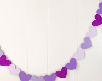 Ready For Shipping Purple Mix Heart Garland -Valentines - Love Garland -Anniversary -Photo Prop -Nursery Decor